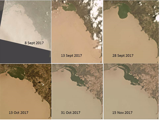 Satellite Image showing expansion of water hyacinth around Lake Tana, September to November 2017